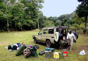 Setting up camp at public campsite Tanzania